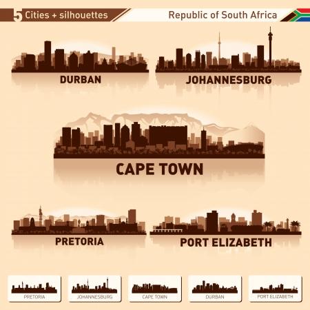 도시의 스카이 라인은 남아프리카 공화국 벡터 실루엣 그림 설정