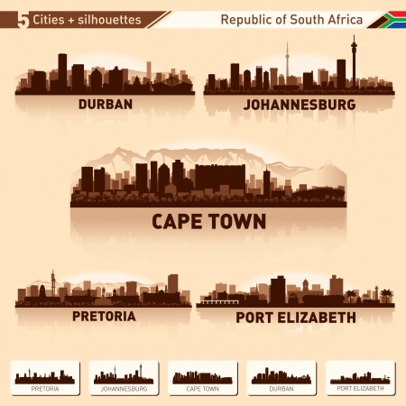elizabeth tower: City skyline set South Africa Vector silhouette illustration