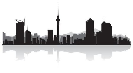 Auckland city skyline silhouette illustration Vector