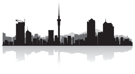 waterfront: Auckland city skyline silhouette illustration