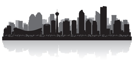 scraper: Calgary Canada city skyline silhouette  illustration