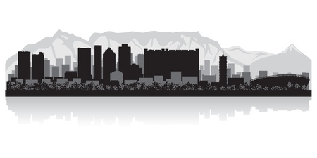 cape: Cape Town city skyline silhouette  illustration Illustration