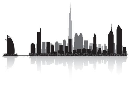 두바이 도시의 스카이 라인의 실루엣 그림