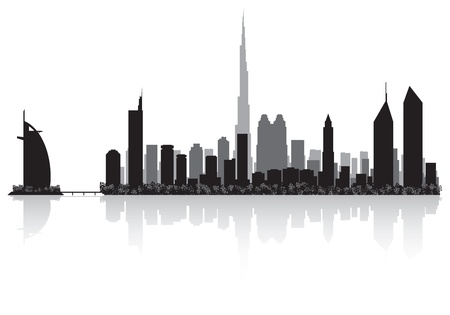 waterfront: Dubai city skyline silhouette illustration
