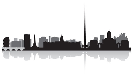 waterfront: Dublin city skyline silhouette illustration Illustration