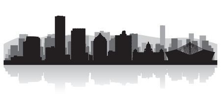 Durban city skyline silhouette illustration Vector