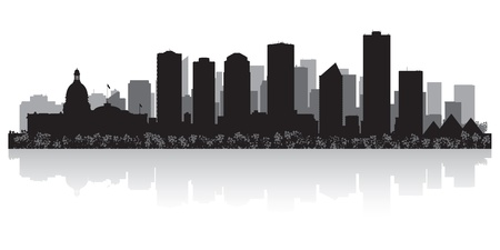 waterfront: Edmonton Canada city skyline silhouette illustration Illustration