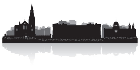 waterfront: Galway city skyline silhouette illustration Illustration