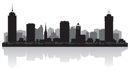 lake shore: Hamilton Canada city skyline silhouette illustration