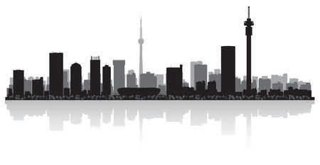 waterfront: Johannesburg city skyline silhouette illustration
