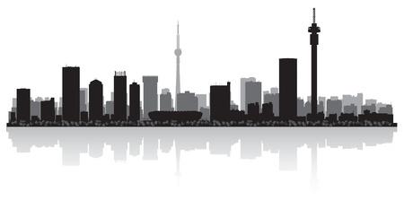 johannesburg: Johannesburg city skyline silhouette illustration