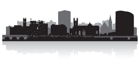 Limerick city skyline silhouette  illustration Illustration