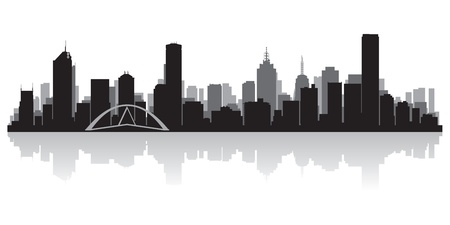 Melbourne Australia city skyline silhouette  illustration