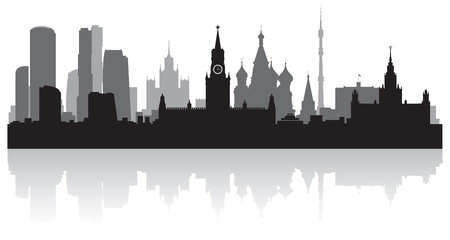 Moskou stad skyline silhouet illustratie Stock Illustratie