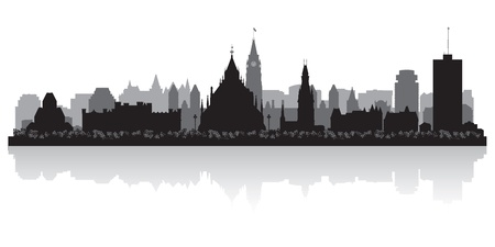 ottawa: Ottawa Canada city skyline silhouette illustration