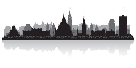 city: Ottawa Canada horizonte de la ciudad silueta ilustración