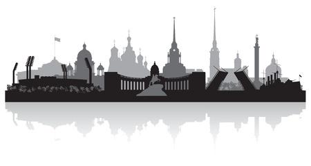 상트 페테르부르크 도시 스카이 라인의 실루엣 그림