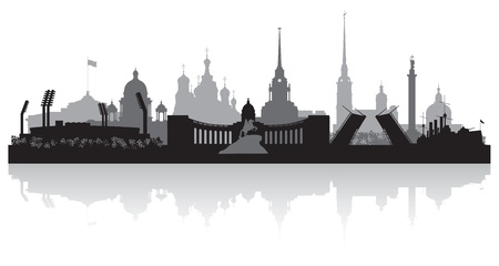 waterfront: Saint Petersburg city skyline silhouette  illustration