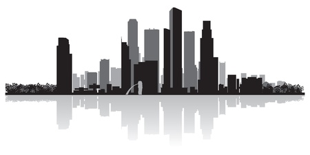 waterfront: Singapore city skyline silhouette  illustration Illustration