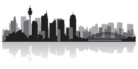 호주 시드니 시티 스카이 라인의 실루엣 그림