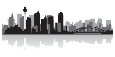 waterfront: Sydney Australia city skyline silhouette illustration