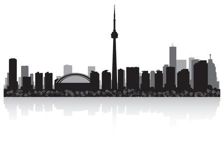 캐나다 토론토시의 스카이 라인의 실루엣 그림