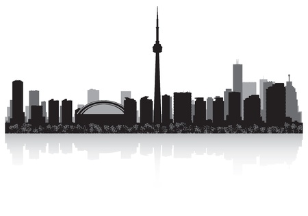 waterfront: Toronto Canada city skyline silhouette  illustration