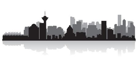 バンクーバー カナダ都市スカイライン シルエット