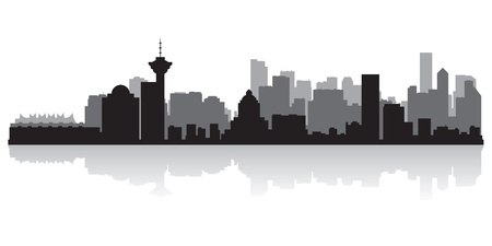 vancouver city: Vancouver Canada city skyline silhouette