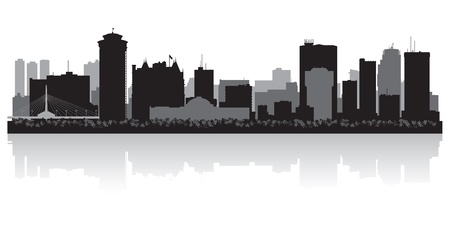 lake winnipeg: Winnipeg Canada city skyline silhouette illustration Illustration