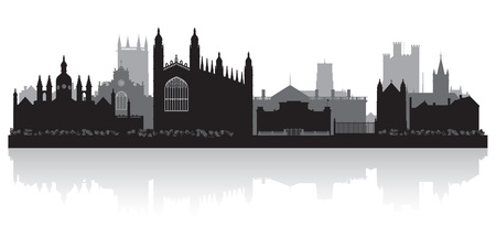 Cambridge city skyline silhouette vector illustration Stock Vector - 21157892