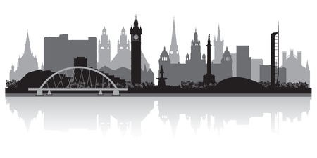 waterfront: Glasgow city skyline silhouette vector illustration