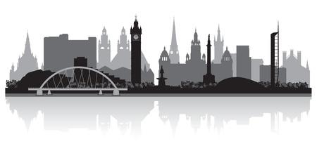 scotland: Glasgow city skyline silhouette vector illustration