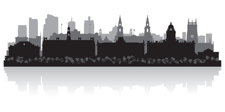 waterfront: Leeds city skyline silhouette vector illustration