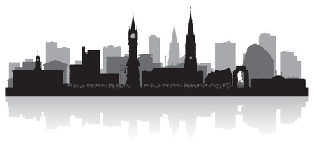 sky scrapers: Leicester city skyline silhouette vector illustration Illustration