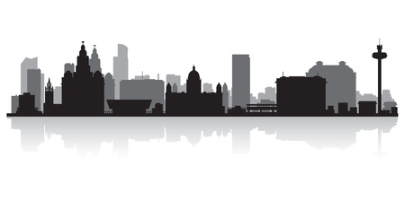 liverpool: Liverpool city skyline silhouette vector illustration