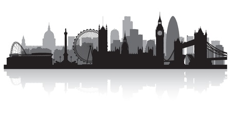 London city skyline silhouette vector illustration Ilustração