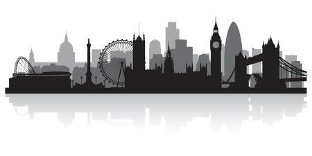 Londres ciudad horizonte silueta ilustración vectorial Foto de archivo - 21157897