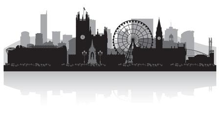 Manchester city skyline silhouet vector illustratie