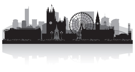 highrise: Manchester city skyline silhouette vector illustration