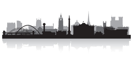 waterfront: Newcastle city skyline silhouette vector illustration Illustration