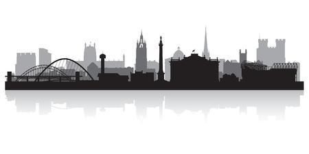 in city: Newcastle ciudad horizonte silueta ilustración vectorial Vectores