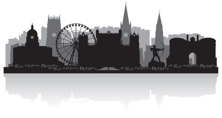 waterfront: Nottingham city skyline silhouette vector illustration