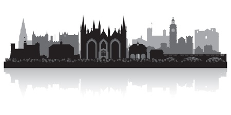 waterfront: Peterborough city skyline silhouette vector illustration Illustration