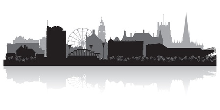 waterfront: Sheffield city skyline silhouette vector illustration Illustration