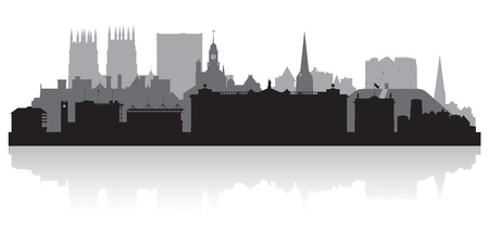 waterfront: York city skyline silhouette vector illustration