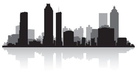 waterfront: Atlanta USA city skyline silhouette vector illustration