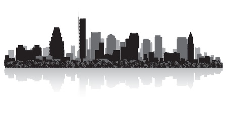 boston skyline: Boston USA city skyline silhouette vector illustration