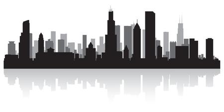 シカゴ アメリカ都市スカイライン シルエット ベクトル イラスト  イラスト・ベクター素材
