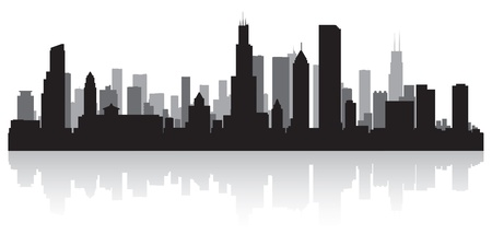 waterfront: Chicago USA city skyline silhouette vector illustration Illustration
